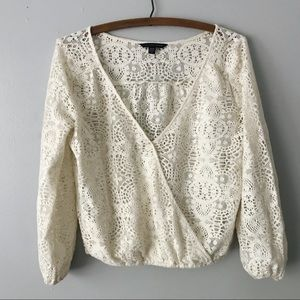 AEO American Eagle Crochet Lace Wrap Top - XS